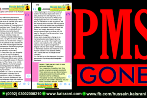 My PMS is gone, Can't believe try Dr. Hussain Kaisrani – A Review and Feedback