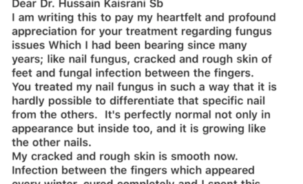 Nail Fungus, Rough Skin and Fungal Infection Cured by Homeopathic Treatment – Feedback